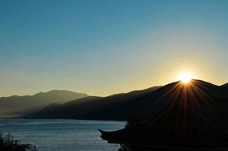 dawn, sunrise, morning, sun, asaka
