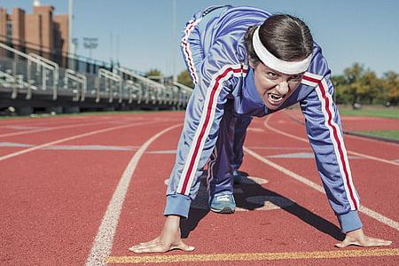 execută, Sprint, zgură-track, cinderpath, începe, sport, femeie