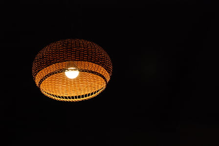 light, lamp, light bulb, negative space, night, dark, luster
