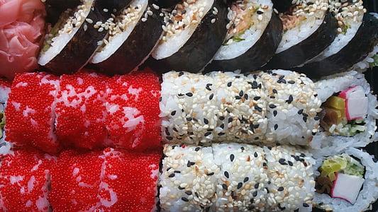 sushi, rotllos, aliments, japonès, arròs, fresc, sopar