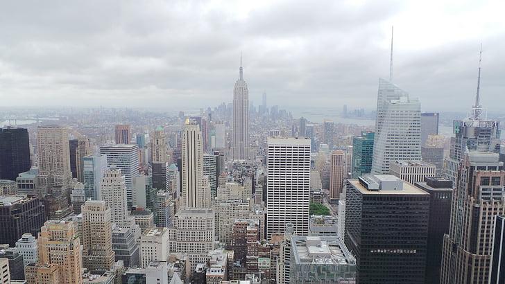 Nova york, Empire state building, ciutat, metròpoli, ennuvolat, gratacels