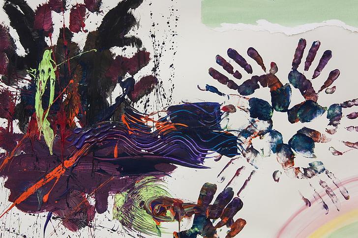 l'Artteràpia, mà, mans, reimpressió, disciplina terapèutica, arts visuals, pintoresc mitjà