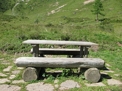 refreshment, mountain, landscape, valley, dolomites, bench, grass
