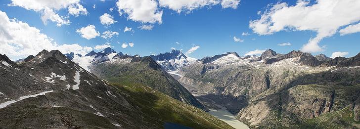 panoràmica, muntanyes, glacera, Suïssa, massís