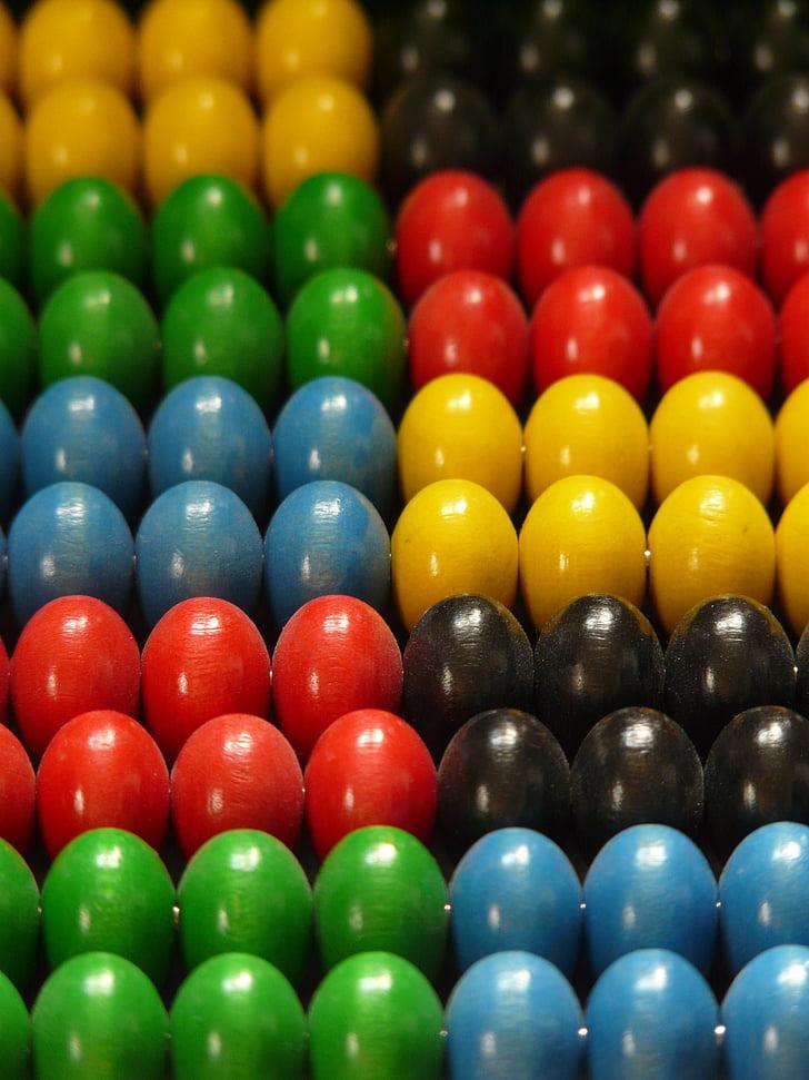 houten kralen, kralen, kleurrijke, Kleur, geel, blauw, rood