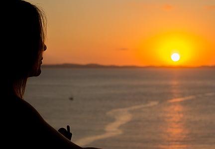 Захід сонця, жінка, Річка, спосіб життя, жінка, Природа, НД