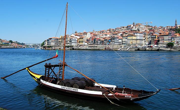 paat, vana, Oporto, Portugal, jõgi, veini, transpordi