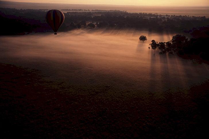 cảnh quan, sương mù, Châu Phi, khinh khí cầu, Xem, Ballon, ánh sáng