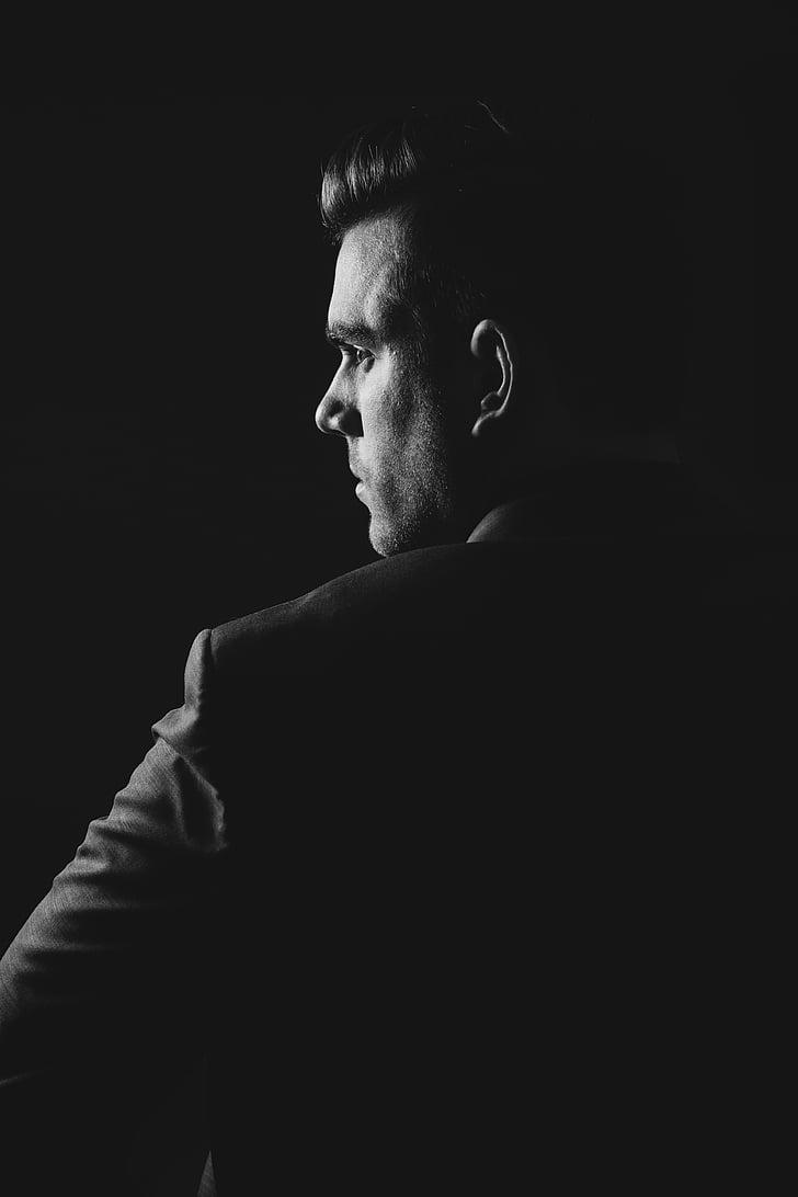 en noir et blanc, sombre, homme, personne