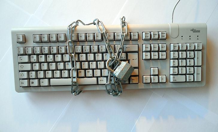 politique de confidentialité, clavier, sécurité, sûr que, garantir, protection, Château