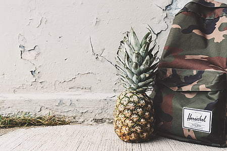 art, backpack, bag, camouflage, close-up, color, concrete