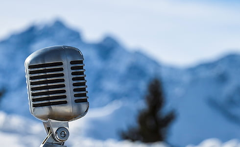 microphone, mountains, snow