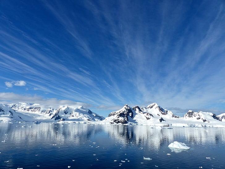Antarktisz, a Paradise bay, hideg, hó, jég, gleccser, jéghegy