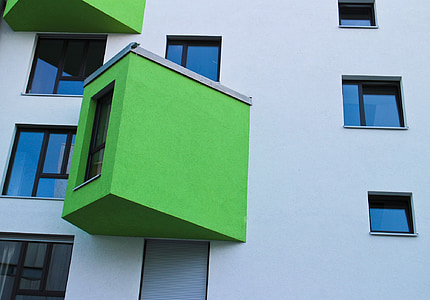 bay window, green, expansion, architecture, home, building, modern