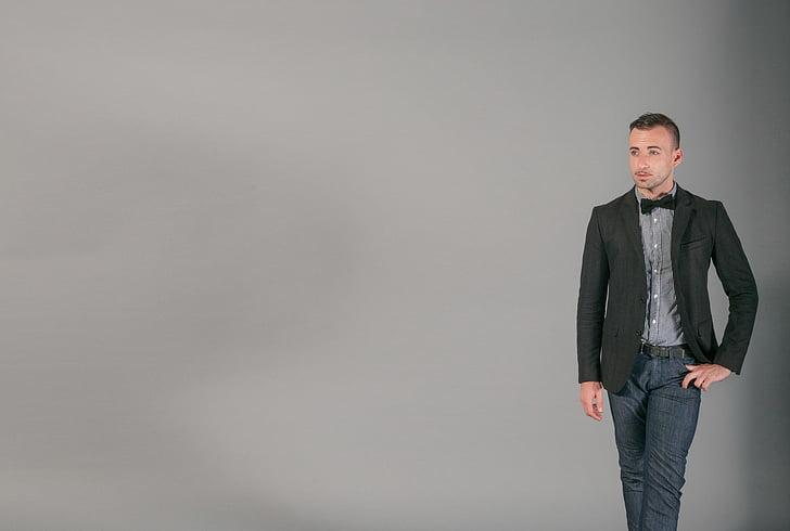 man, wearing, gray, polo, shirt, black, coat
