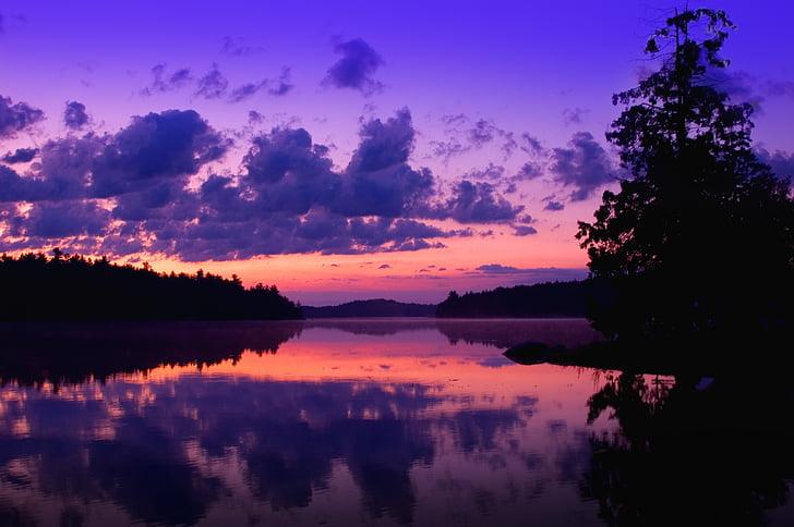 viola, crepuscolo, acqua alba, tramonto, natura, paesaggio, sera