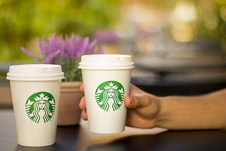 cafè, cafeteria, beure, bokeh, estil de vida, Starbucks, begudes