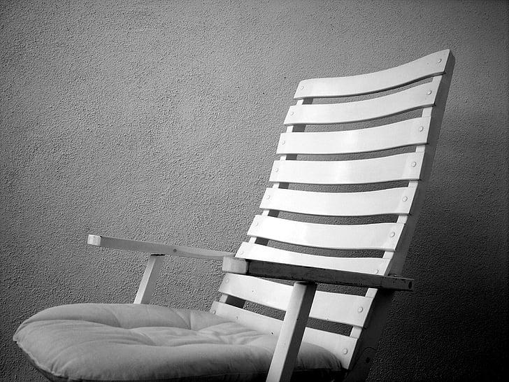 ghế, ghế, mùa hè, nói dối, BW, Bãi biển ghế