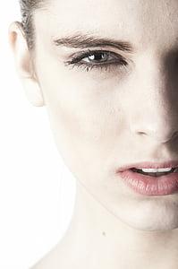 femení, Retrat, bonica, cara, model de, humà, l'exposició