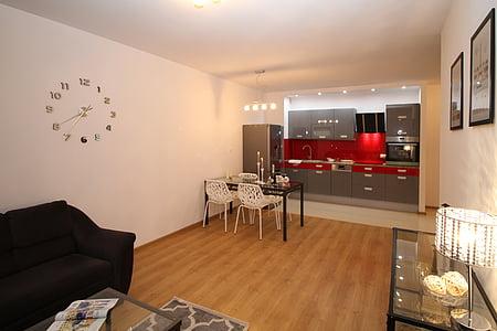 cuina, cuina americana, Apartament, sala, casa, interior residencial, disseny d'interiors