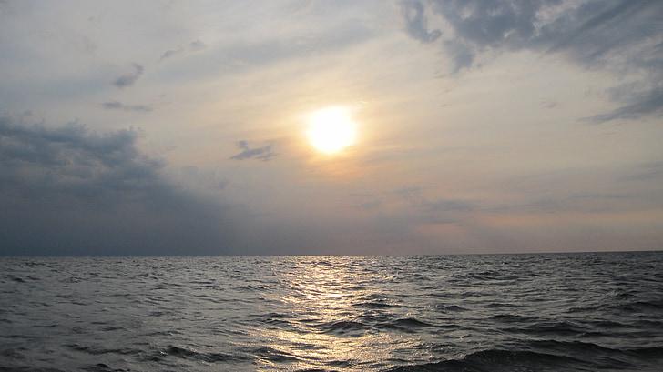 sunset, sea, sail, setting sun, baltic sea