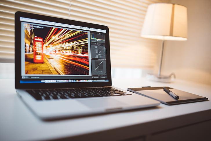 računalnik, MacBook, tableta, urejanje, Slika, Lightroom, prenosni računalnik