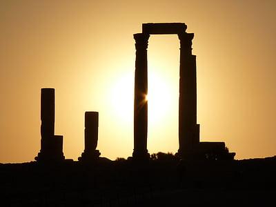 Citadel hill, Amman, Jordanien, Holiday, resor, Mellanöstern, ruin