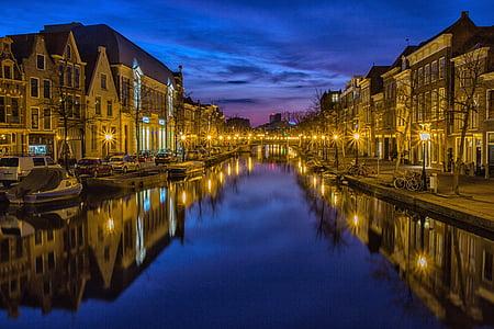 city, night, waterway, channel, night sky, lights, street lanterns