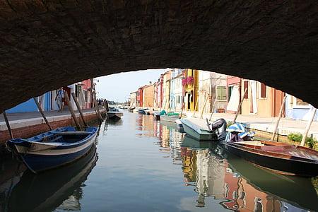 อิตาลี, burano, เกาะ, เวนิส, บ้านที่มีสีสัน, ช่อง, สี