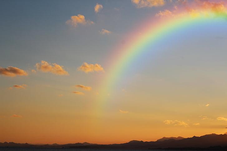 foto, arco-íris, Nimbus, nuvens, plano de fundo, pôr do sol, nuvem