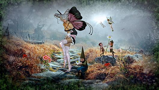 fantasia, contes de fades, follet, composició, natura, paisatge, màgic