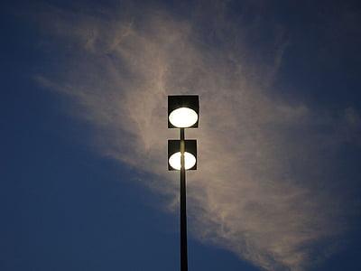 lampe, lys, Street, himmelen, skyer, kveld, skumring