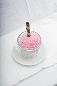 ice cream, dessert, strawberry, cream, ice, sweet, cold