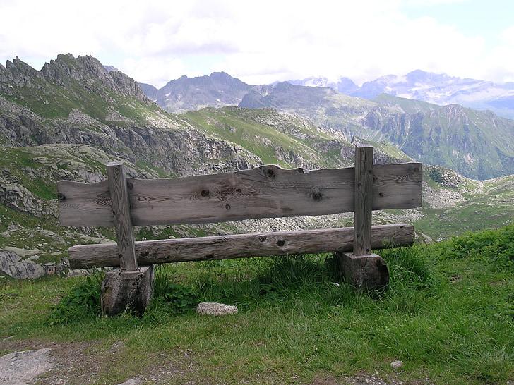 banco, Itália, Trentino, Dolomitas, paisagem, montanha, natureza