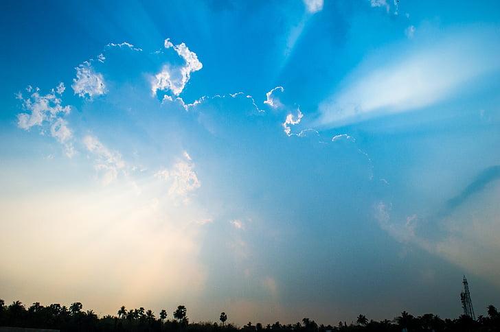 ท้องฟ้าสีฟ้า, เมฆ, พระอาทิตย์ขึ้น, พระอาทิตย์ตก