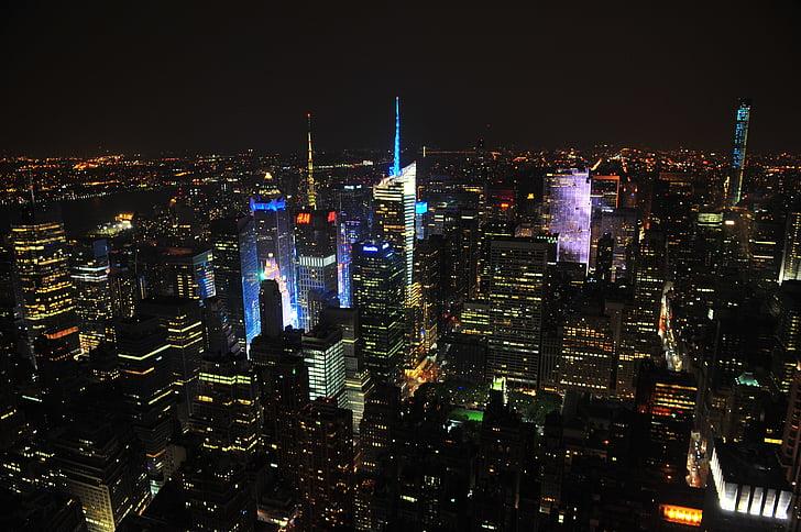 ciudad, noche, luces, ciudad de la noche, urbana, cielo, Skyline