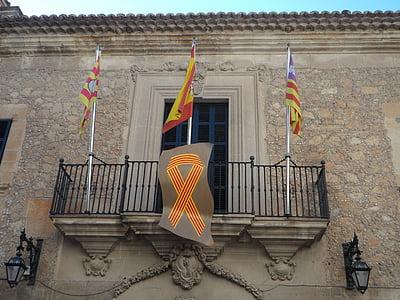 városháza, Manacor, zászlók, Spanyolország, zászló, Mallorca, kőház