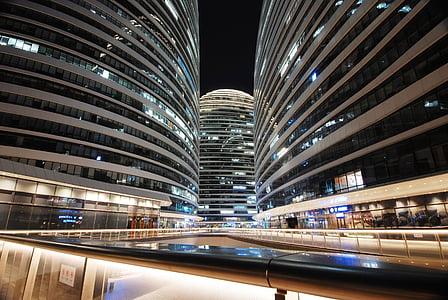 vista nocturna, edifici, línia, ciutat, Pequín, Wangjing, comercial