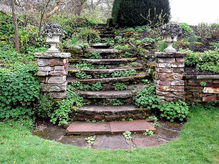 steps, stone, formal, garden, stairway, pillars, grass