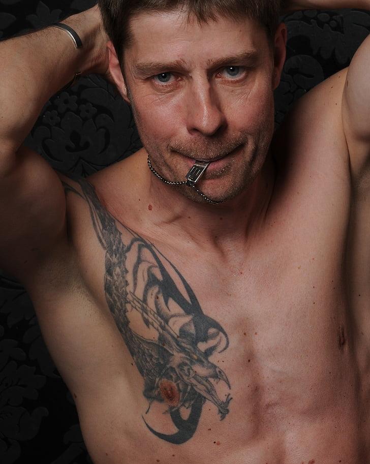home, Retrat, mascle, tatuat, nu, atractiu, músculs