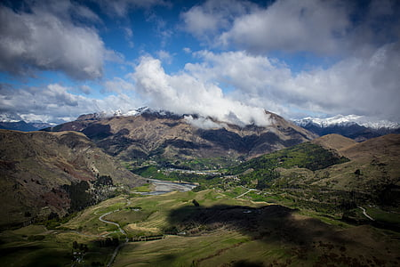 kivinen, vuoret, pilvistä, taivas, päivällä, pilvi, Mountain
