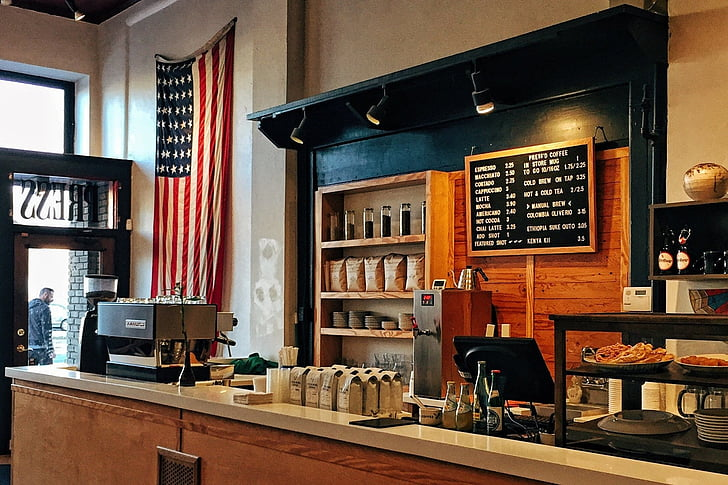 american flag, america, coffee, flag, shop, workplace, cafe