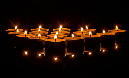 lights, tea lights, candles, light, burn, candlelight, wax candle