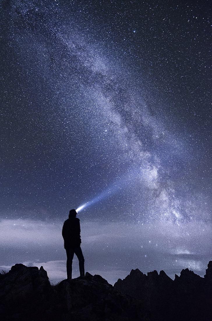 adventure, explorer, galaxy, light, milky way, mountains, night