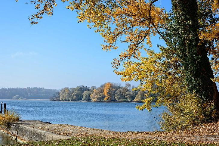 tardor, paisatge, Chiemsee, Llac, l'aigua, natura, llunyà