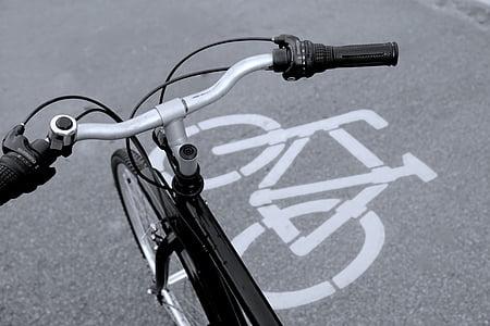 Biciklistička staza, bicikala znakovi, bicikl, crno i bijelo, bicikala, biciklizam, prijevoz