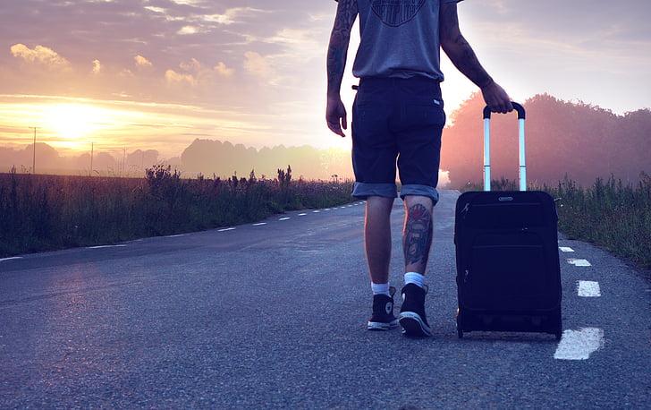 Excursionista, viatges, viatge, vagar, maleta, viatger, anar