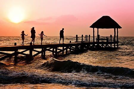 sea, dock, sunset, beach, children, happy, holiday