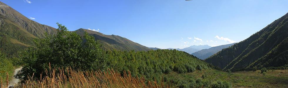 Geòrgia, paisatge, natura, muntanya, cel, representacions, a l'exterior