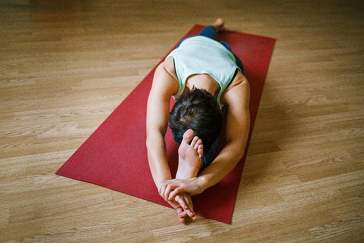 ioga, menina, esportes, asana, exercício de esteira, mulheres, exercício